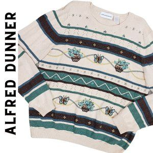 ALFRED DUNNER Vintage Embroidered Striped Sweater